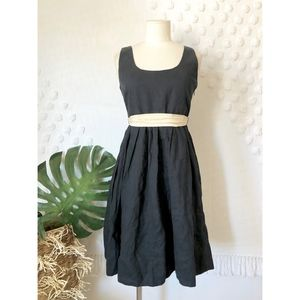 Banana Republic 100% Linen Black Belted Dress 2P